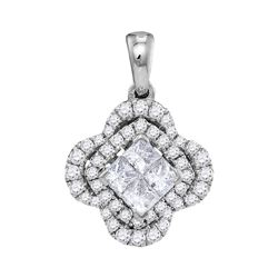 3/4 CTW Womens Princess Diamond Cluster Pendant 14kt White Gold - REF-61A4M