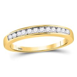 1/4 CTW Womens Round Channel-set Diamond Single Row Wedding Band Ring 14kt Yellow Gold - REF-36A2M