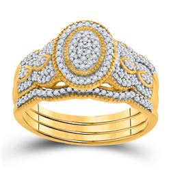 3/8 CTW Round Diamond 3-Piece Bridal Wedding Ring 10kt Yellow Gold - REF-44H5R