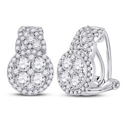1 & 5/8 CTW Womens Round Diamond French-clip Hoop Cluster Earrings 14kt White Gold - REF-156N7A