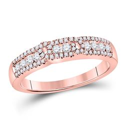 1/2 CTW Womens Round Diamond Triple Row Band Ring 14kt Rose Gold - REF-54T5V