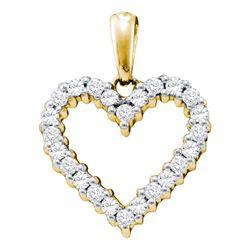 1/3 CTW Womens Round Diamond Heart Pendant 14kt Yellow Gold - REF-30M7F