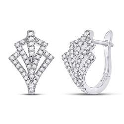 1/2 CTW Womens Round Diamond Hoop Earrings 14kt White Gold - REF-58N5A