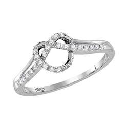1/8 CTW Womens Round Diamond Knot Heart Ring 10kt White Gold - REF-17W6H
