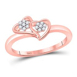 1/10 CTW Womens Round Diamond Double Heart Ring 10kt Rose Gold - REF-17H6R