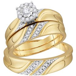 1/3 CTW His Hers Round Diamond Solitaire Matching Wedding Set 10kt Yellow Gold - REF-66V2Y
