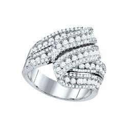 2 CTW Womens Round Diamond Fold Over Fashion Ring 14kt White Gold - REF-177R3X