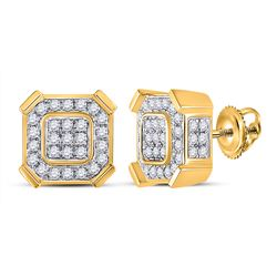 1 CTW Mens Round Diamond Square Earrings 14kt Yellow Gold - REF-78R5X