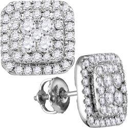 1 CTW Womens Round Diamond Square Cluster Earrings 14kt White Gold - REF-81V7Y