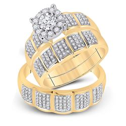 7/8 CTW His Hers Round Diamond Halo Matching Wedding Set 10kt Yellow Gold - REF-99H2R