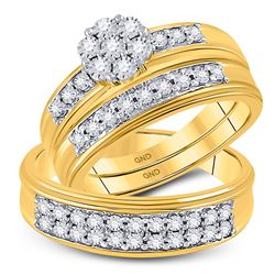 1/10 CTW His Hers Round Diamond Cluster Matching Wedding Set 10kt Yellow Gold - REF-54H5R
