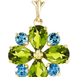 Genuine 2.43 ctw Peridot & Blue Topaz Necklace 14KT Yellow Gold - REF-29N7R