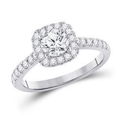 1 & 1/3 CTW Round Diamond Halo Bridal Wedding Engagement Ring 14kt White Gold - REF-180V7Y