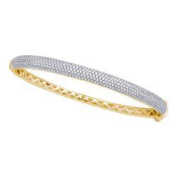 2 CTW Womens Round Diamond Pave Bangle Bracelet 14kt Yellow Gold - REF-259F2W