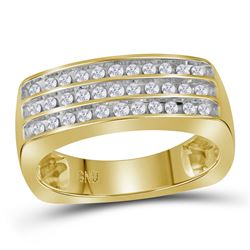 1/2 CTW Mens Round Diamond 3-Row Band Ring 10kt Yellow Gold - REF-63H5R
