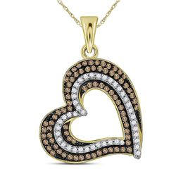 3/8 CTW Womens Round Brown Diamond Heart Pendant 10kt Yellow Gold - REF-27A3M