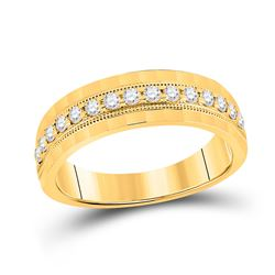 1/2 CTW Mens Round Diamond Wedding Single Row Band Ring 10kt Yellow Gold - REF-68V2Y