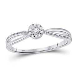 1/10 CTW Womens Round Diamond Solitaire Promise Ring 10kt White Gold - REF-15A2M