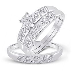 1/12 CTW His Hers Round Diamond Cluster Matching Wedding Set 10kt White Gold - REF-30F7W