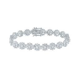 4 CTW Womens Baguette Diamond Flower Fashion Bracelet 14kt White Gold - REF-354R5X