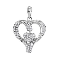 1/6 CTW Womens Round Diamond Heart Pendant 10kt White Gold - REF-16F4W