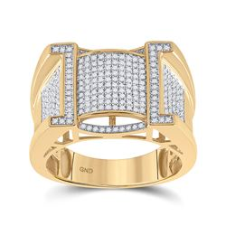 5/8 CTW Mens Round Diamond Band Ring 10kt Yellow Gold - REF-88F5W