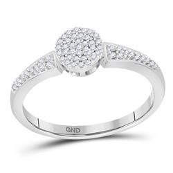 1/6 CTW Womens Round Diamond Circle Cluster Ring 10kt White Gold - REF-15W2H