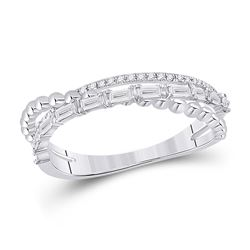 1/3 CTW Womens Baguette Diamond Crossover Band Ring 14kt White Gold - REF-44A5M