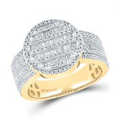 1 CTW Mens Baguette Diamond Statement Cluster Ring 10kt Yellow Gold - REF-97V5Y