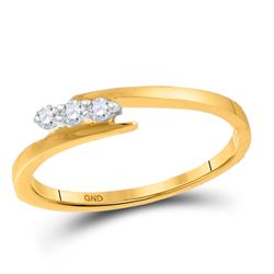 1/10 CTW Womens Round Diamond 3-stone Promise Ring 10kt Yellow Gold - REF-17X3T