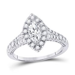 1 & 1/4 CTW Marquise Diamond Halo Bridal Wedding Engagement Ring 14kt White Gold - REF-192R8X