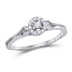 1/10 CTW Womens Round Diamond Solitaire Promise Ring 10kt White Gold - REF-17N7A