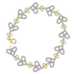 1 CTW Womens Round Diamond Link Heart Bracelet 10kt Yellow Gold - REF-74X9T