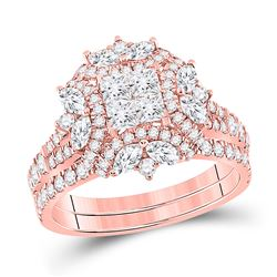 1 & 3/4 CTW Princess Marquise Diamond Bridal Wedding Ring 14kt Rose Gold - REF-211H4R
