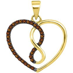 1/8 CTW Womens Round Brown Diamond Heart Infinity Pendant 10kt Yellow Gold - REF-12F2W