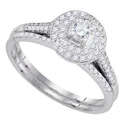 1/2 CTW Round Diamond Halo Bridal Wedding Ring 14kt White Gold - REF-58X2T