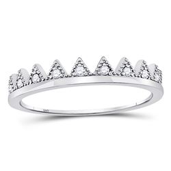 1/10 CTW Womens Round Diamond Chevron Stackable Band Ring 10kt White Gold - REF-13X5T
