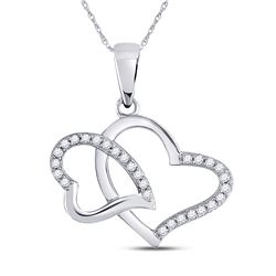 1/6 CTW Womens Round Diamond Double Heart Pendant 10kt White Gold - REF-13M5F