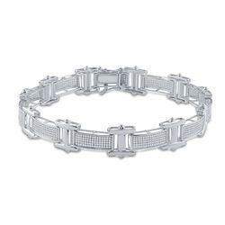 1 & 1/2 CTW Mens Round Diamond Link Bracelet 10kt White Gold - REF-150W2H
