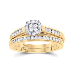 1/2 CTW Round Diamond Cluster Bridal Wedding Ring 14kt Yellow Gold - REF-69M5F