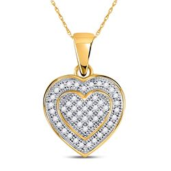 1/6 CTW Womens Round Diamond Layered Heart Cluster Pendant 10kt Yellow Gold - REF-15V2Y