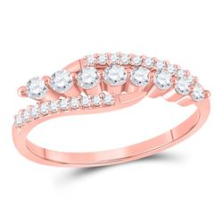 1/3 CTW Womens Round Diamond Triple Row Band Ring 10kt Rose Gold - REF-21W8H