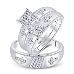 1/12 CTW His Hers Round Diamond Cross Matching Wedding Set 10kt White Gold - REF-49Y6N