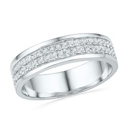 1/5 CTW Womens Round Diamond 2-row Band Ring 10kt White Gold - REF-32R7X