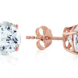 Genuine 3.1 ctw Aquamarine Earrings 14KT Rose Gold - REF-32X8M