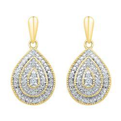 1/10 CTW Womens Round Diamond Milgrain Teardrop Dangle Earrings 10kt Yellow Gold - REF-24R5X