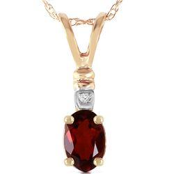 Genuine 0.46 ctw Garnet & Diamond Necklace 14KT Yellow Gold - REF-21X6M