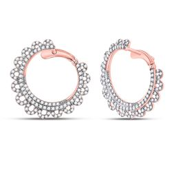 1 & 1/2 CTW Womens Round Diamond Hoop Earrings 14kt Rose Gold - REF-119H4R