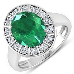 Natural 3.56 CTW Zambian Emerald & Diamond Ring 14K White Gold - REF-145F3N