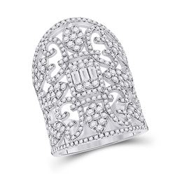2 & 1/2 CTW Womens Baguette Diamond Fashion Cocktail Ring 14kt White Gold - REF-240V5Y